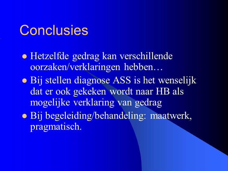 Conclusies Hetzelfde gedrag kan verschillende oorzaken/verklaringen hebben… Bij stellen diagnose ASS is het wenselijk dat er ook gekeken wordt naar HB