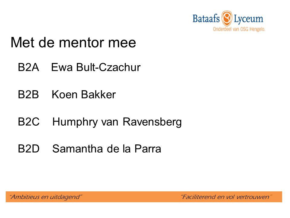 """"""" Ambitieus en uitdagend"""" """"Faciliterend en vol vertrouwen"""" Met de mentor mee B2A Ewa Bult-Czachur B2B Koen Bakker B2C Humphry van Ravensberg B2D Saman"""