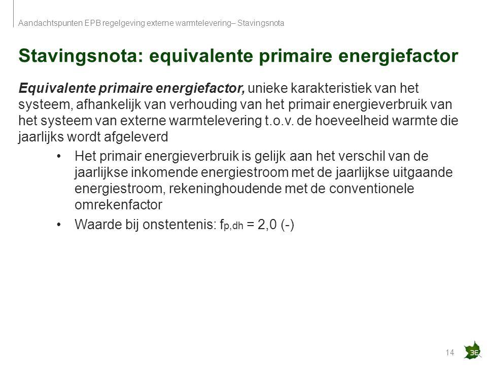 Stavingsnota: equivalente primaire energiefactor 14 Aandachtspunten EPB regelgeving externe warmtelevering– Stavingsnota Equivalente primaire energief