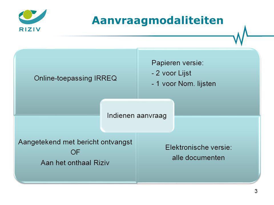Aanvraagmodaliteiten Online-toepassing IRREQ Papieren versie: - 2 voor Lijst - 1 voor Nom. lijsten Aangetekend met bericht ontvangst OF Aan het onthaa