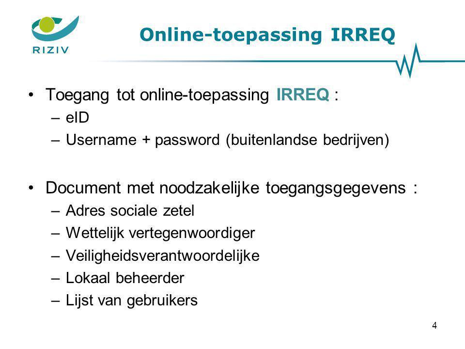 Online-toepassing IRREQ Toegang tot online-toepassing IRREQ : –eID –Username + password (buitenlandse bedrijven) Document met noodzakelijke toegangsge