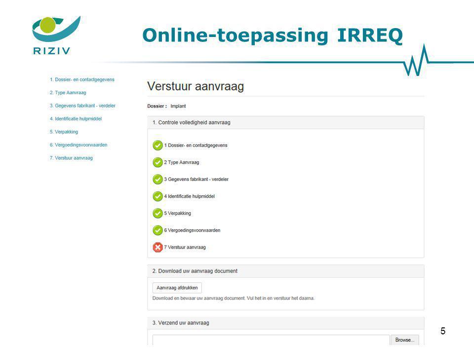 Online-toepassing IRREQ 5