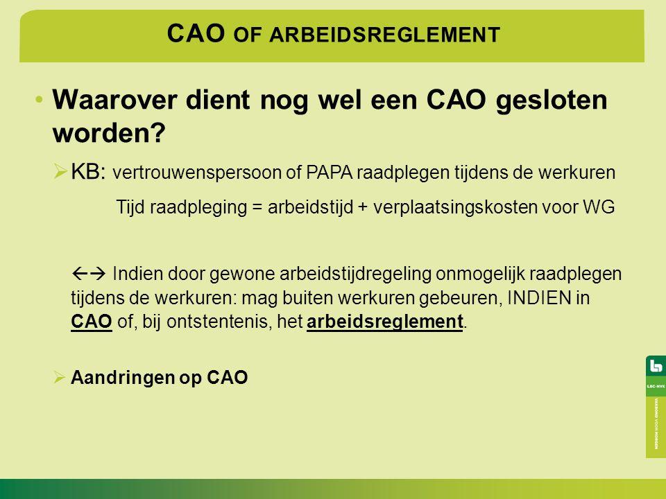 CAO OF ARBEIDSREGLEMENT Waarover dient nog wel een CAO gesloten worden?  KB: vertrouwenspersoon of PAPA raadplegen tijdens de werkuren Tijd raadplegi