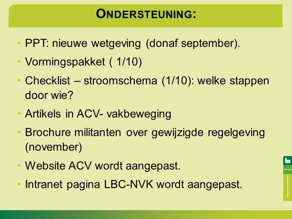 O NDERSTEUNING : PPT: nieuwe wetgeving (donaf september). Vormingspakket ( 1/10) Checklist – stroomschema (1/10): welke stappen door wie? Artikels in