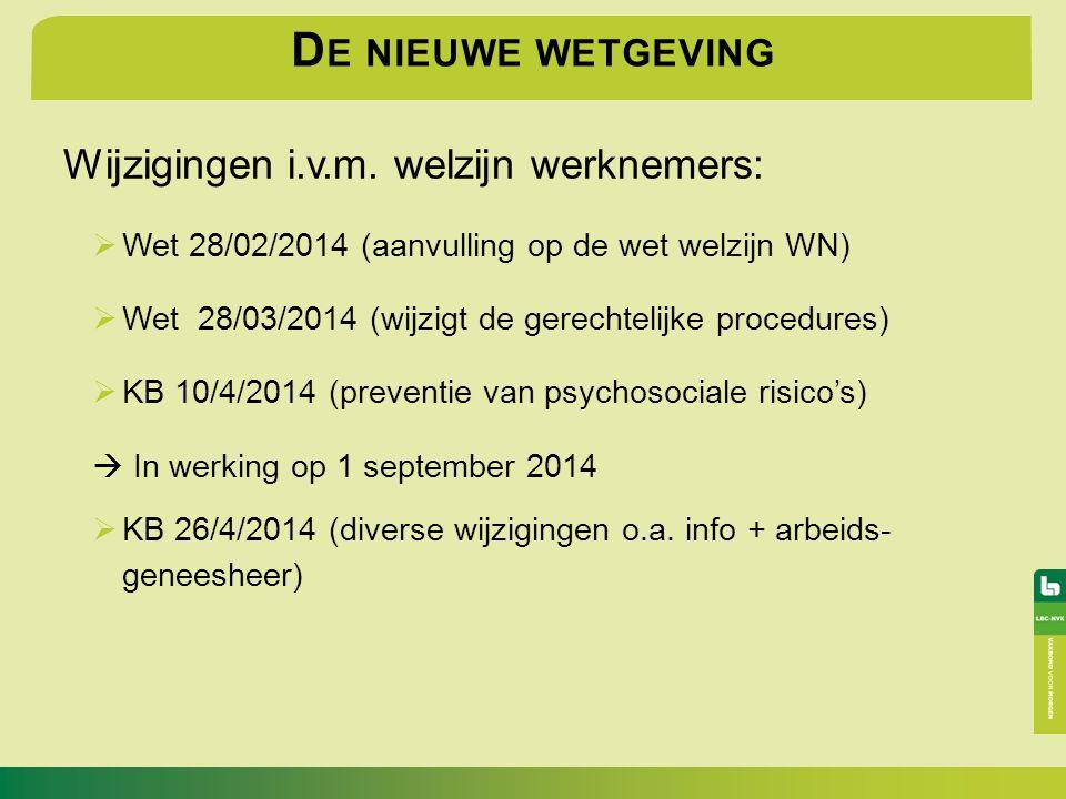 D E NIEUWE WETGEVING Wijzigingen i.v.m. welzijn werknemers:  Wet 28/02/2014 (aanvulling op de wet welzijn WN)  Wet 28/03/2014 (wijzigt de gerechteli