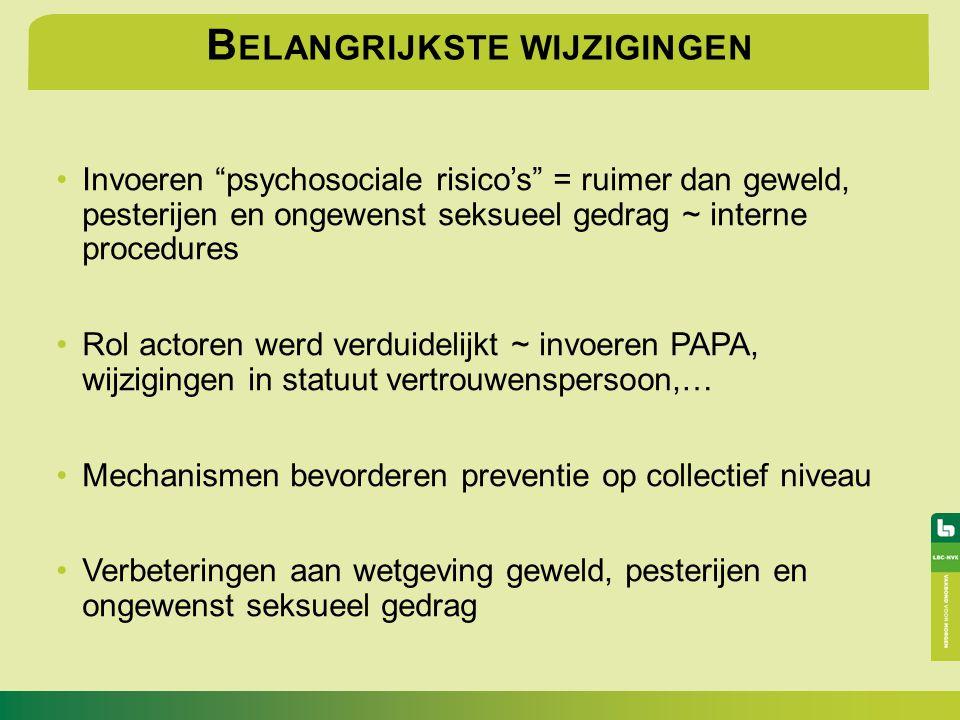 """B ELANGRIJKSTE WIJZIGINGEN Invoeren """"psychosociale risico's"""" = ruimer dan geweld, pesterijen en ongewenst seksueel gedrag ~ interne procedures Rol act"""
