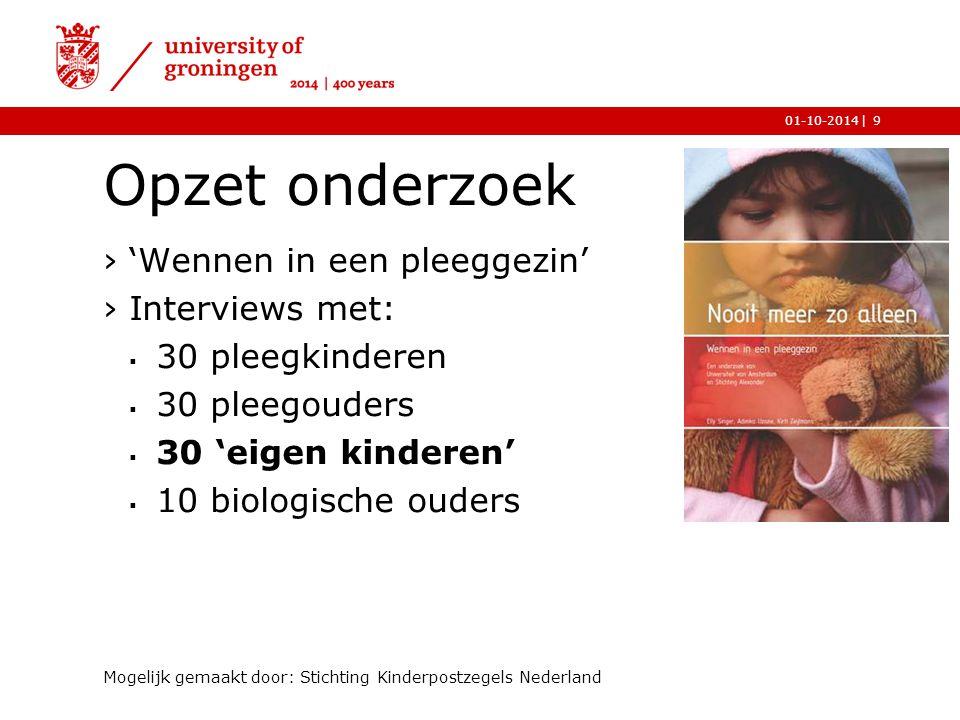 |01-10-2014 Opzet onderzoek ›'Wennen in een pleeggezin' ›Interviews met:  30 pleegkinderen  30 pleegouders  30 'eigen kinderen'  10 biologische ou