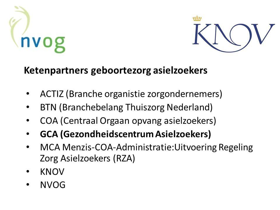 Ketenpartners geboortezorg asielzoekers ACTIZ (Branche organistie zorgondernemers) BTN (Branchebelang Thuiszorg Nederland) COA (Centraal Orgaan opvang