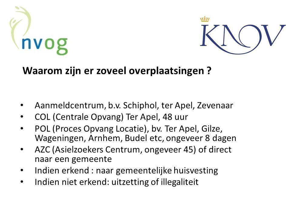 Waarom zijn er zoveel overplaatsingen ? Aanmeldcentrum, b.v. Schiphol, ter Apel, Zevenaar COL (Centrale Opvang) Ter Apel, 48 uur POL (Proces Opvang Lo