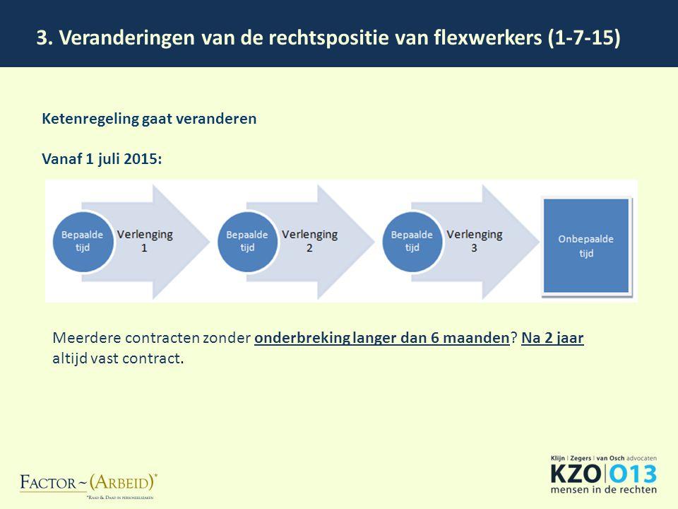 3. Veranderingen van de rechtspositie van flexwerkers (1-7-15) Ketenregeling gaat veranderen Vanaf 1 juli 2015: Meerdere contracten zonder onderbrekin
