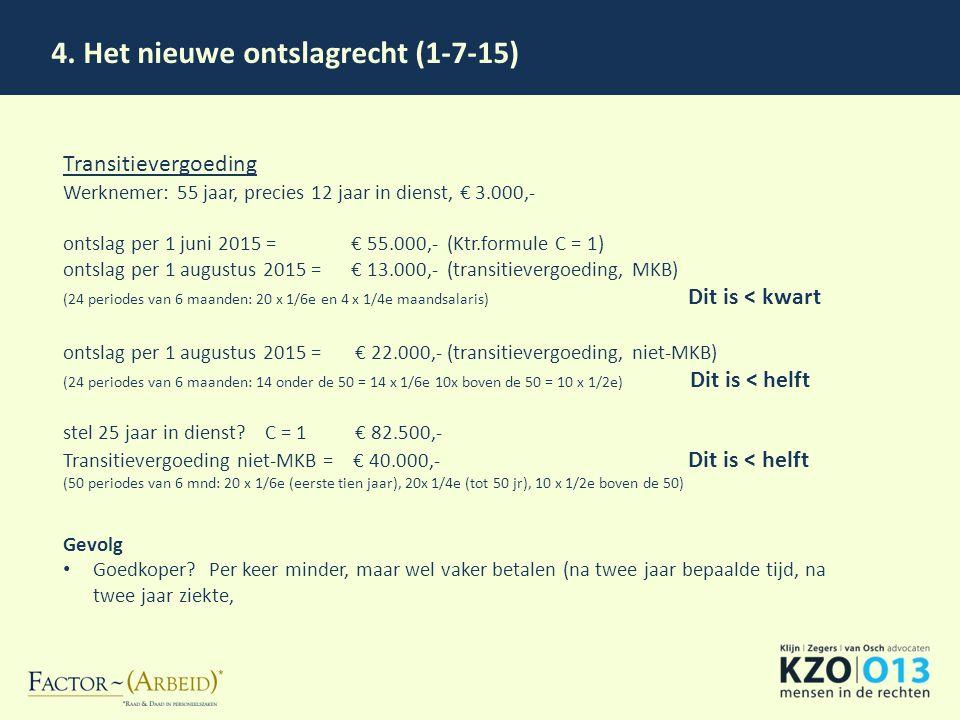 4. Het nieuwe ontslagrecht (1-7-15) Transitievergoeding Werknemer: 55 jaar, precies 12 jaar in dienst, € 3.000,- ontslag per 1 juni 2015 = € 55.000,-(