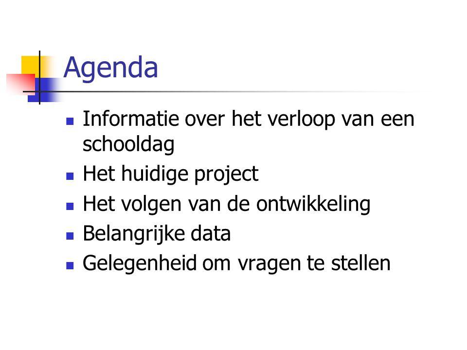 Agenda Informatie over het verloop van een schooldag Het huidige project Het volgen van de ontwikkeling Belangrijke data Gelegenheid om vragen te stel