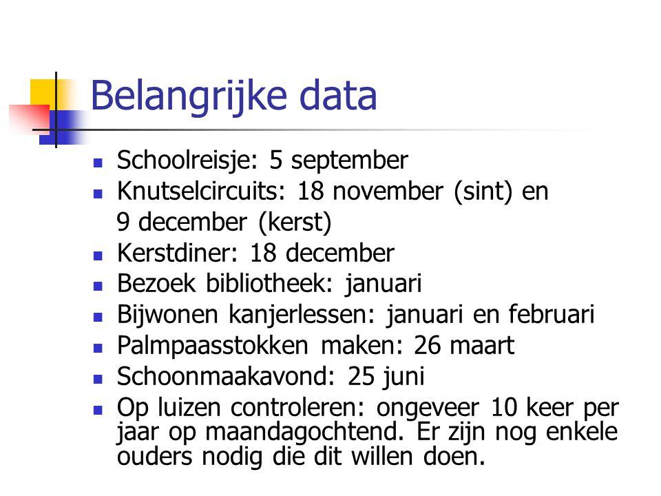Belangrijke data Schoolreisje: 5 september Knutselcircuits: 18 november (sint) en 9 december (kerst) Kerstdiner: 18 december Bezoek bibliotheek: janua