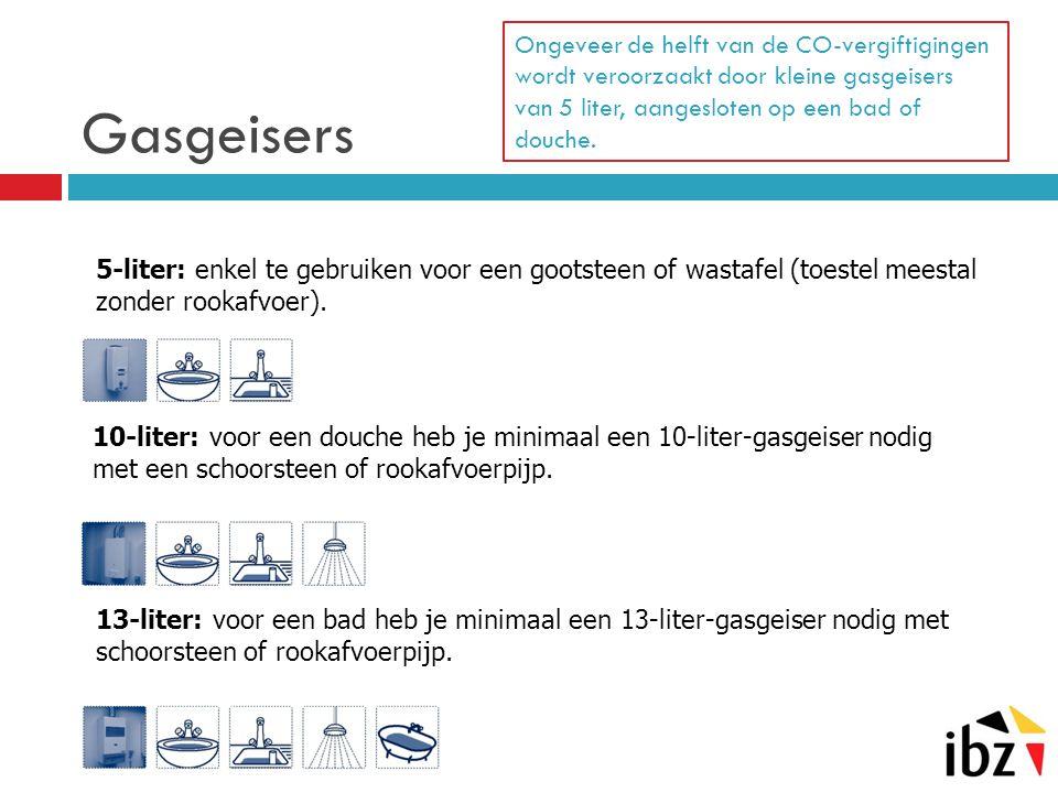 Gasgeisers Ongeveer de helft van de CO-vergiftigingen wordt veroorzaakt door kleine gasgeisers van 5 liter, aangesloten op een bad of douche. 10-liter