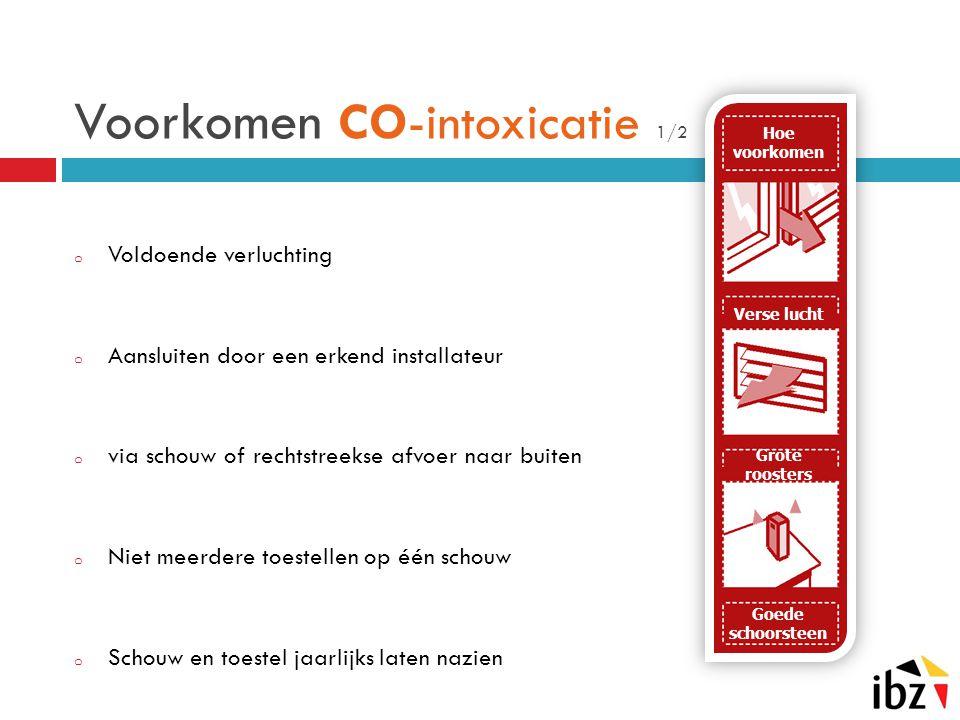 Voorkomen CO-intoxicatie 1/2 o Voldoende verluchting o Aansluiten door een erkend installateur o via schouw of rechtstreekse afvoer naar buiten o Niet