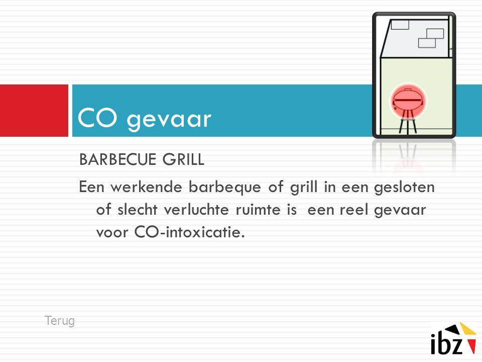 BARBECUE GRILL Een werkende barbeque of grill in een gesloten of slecht verluchte ruimte is een reel gevaar voor CO-intoxicatie. CO gevaar Terug