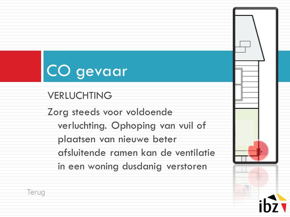 VERLUCHTING Zorg steeds voor voldoende verluchting. Ophoping van vuil of plaatsen van nieuwe beter afsluitende ramen kan de ventilatie in een woning d