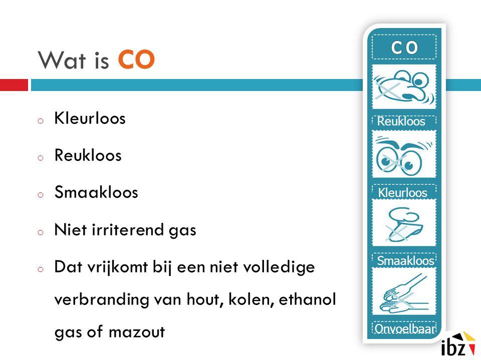 Wat is CO o Kleurloos o Reukloos o Smaakloos o Niet irriterend gas o Dat vrijkomt bij een niet volledige verbranding van hout, kolen, ethanol gas of m
