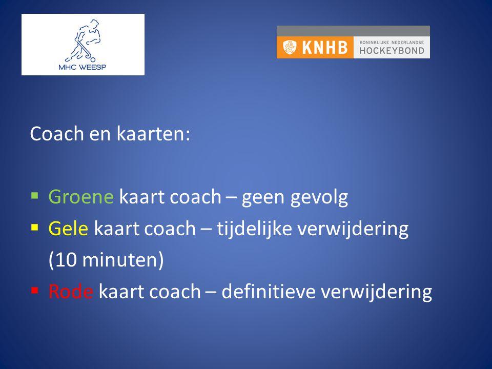 Coach en kaarten:  Groene kaart coach – geen gevolg  Gele kaart coach – tijdelijke verwijdering (10 minuten)  Rode kaart coach – definitieve verwij