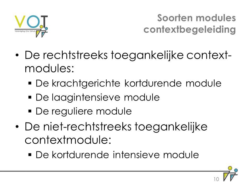 Soorten modules contextbegeleiding De rechtstreeks toegankelijke context- modules:  De krachtgerichte kortdurende module  De laagintensieve module  De reguliere module De niet-rechtstreeks toegankelijke contextmodule:  De kortdurende intensieve module 10