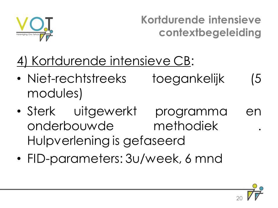 Kortdurende intensieve contextbegeleiding 4) Kortdurende intensieve CB: Niet-rechtstreeks toegankelijk (5 modules) Sterk uitgewerkt programma en onderbouwde methodiek.