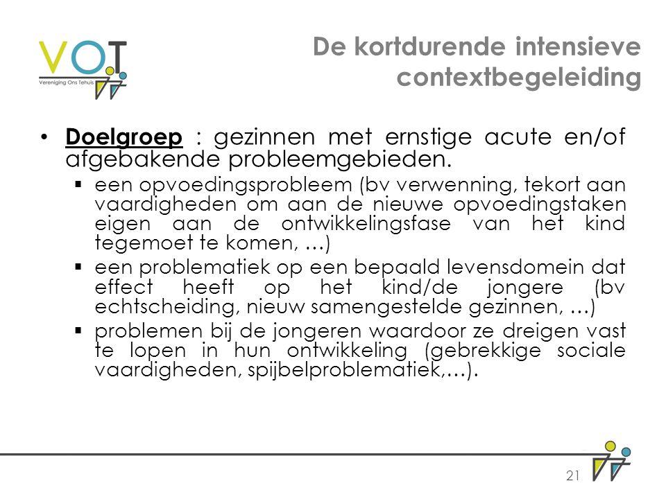 De kortdurende intensieve contextbegeleiding Doelgroep : gezinnen met ernstige acute en/of afgebakende probleemgebieden.