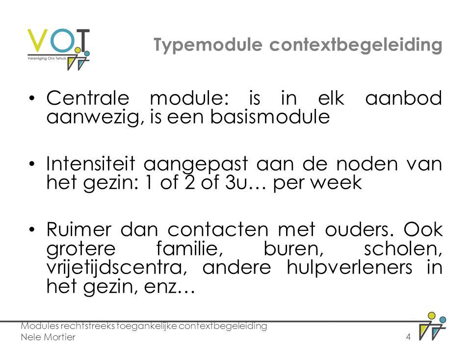 Typemodule contextbegeleiding Centrale module: is in elk aanbod aanwezig, is een basismodule Intensiteit aangepast aan de noden van het gezin: 1 of 2 of 3u… per week Ruimer dan contacten met ouders.