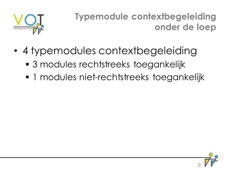Typemodule contextbegeleiding onder de loep 4 typemodules contextbegeleiding  3 modules rechtstreeks toegankelijk  1 modules niet-rechtstreeks toegankelijk 8