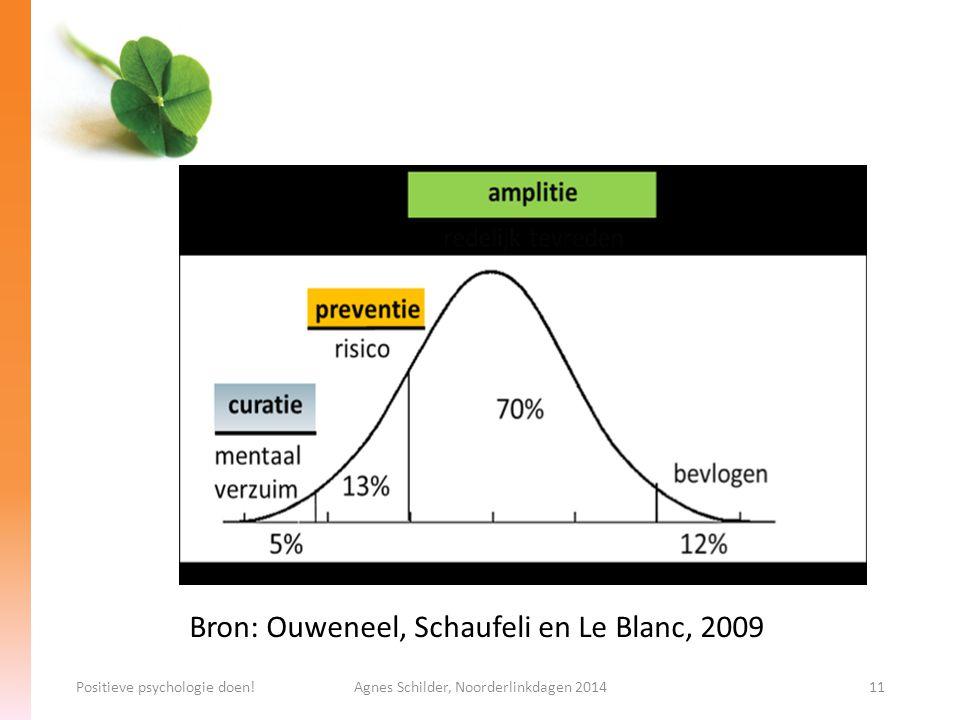 Positieve psychologie doen!Agnes Schilder, Noorderlinkdagen 201411 Bron: Ouweneel, Schaufeli en Le Blanc, 2009
