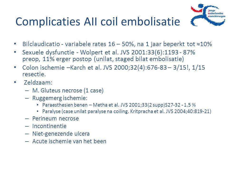 Complicaties AII coil embolisatie Bilclaudicatio - variabele rates 16 – 50%, na 1 jaar beperkt tot ≈10% Sexuele dysfunctie - Wolpert et al. JVS 2001:3