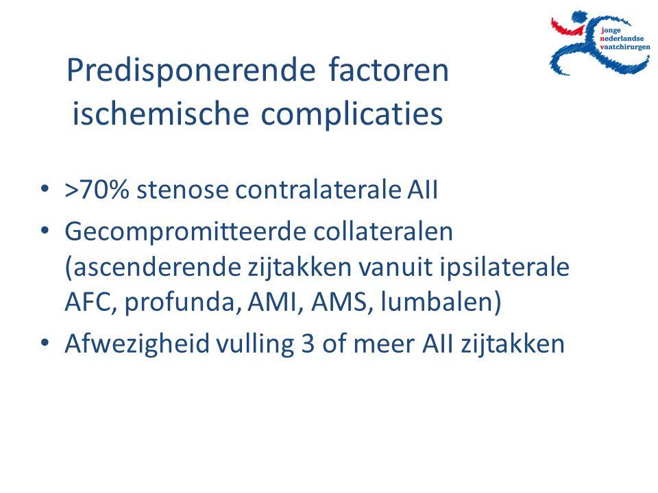 Predisponerende factoren ischemische complicaties >70% stenose contralaterale AII Gecompromitteerde collateralen (ascenderende zijtakken vanuit ipsila