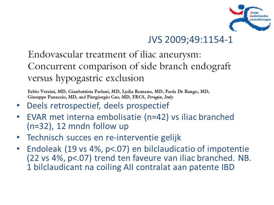 JVS 2009;49:1154-1 Deels retrospectief, deels prospectief EVAR met interna embolisatie (n=42) vs iliac branched (n=32), 12 mndn follow up Technisch su