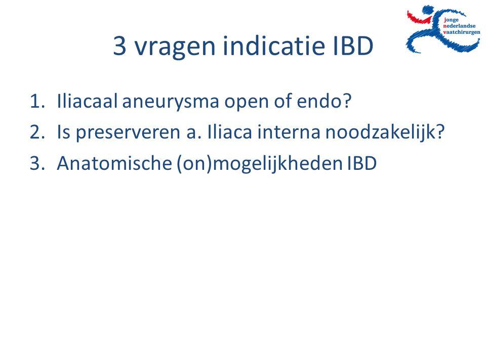3 vragen indicatie IBD 1.Iliacaal aneurysma open of endo? 2.Is preserveren a. Iliaca interna noodzakelijk? 3.Anatomische (on)mogelijkheden IBD