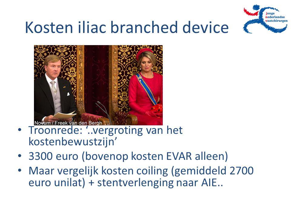 Kosten iliac branched device Troonrede: '..vergroting van het kostenbewustzijn' 3300 euro (bovenop kosten EVAR alleen) Maar vergelijk kosten coiling (
