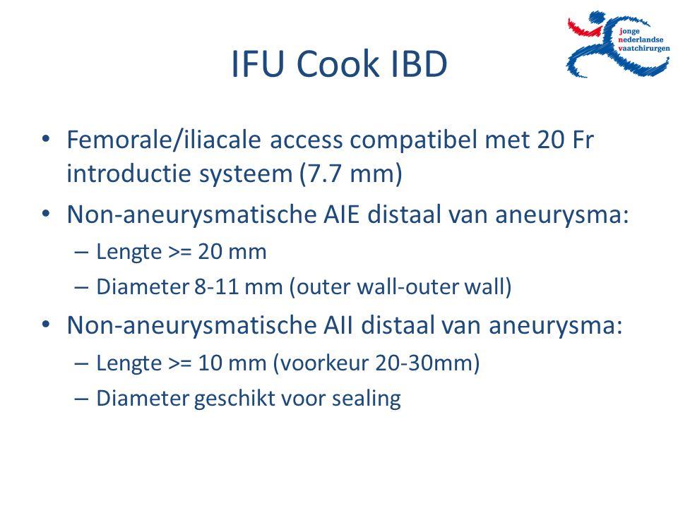 IFU Cook IBD Femorale/iliacale access compatibel met 20 Fr introductie systeem (7.7 mm) Non-aneurysmatische AIE distaal van aneurysma: – Lengte >= 20