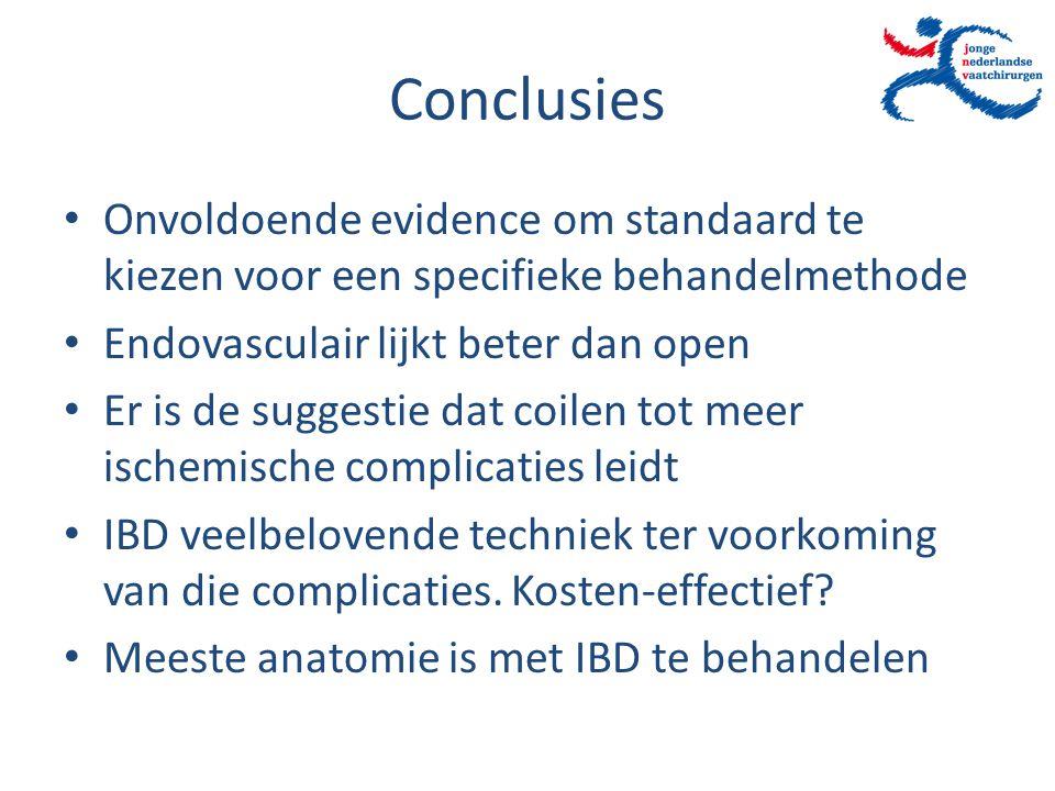 Conclusies Onvoldoende evidence om standaard te kiezen voor een specifieke behandelmethode Endovasculair lijkt beter dan open Er is de suggestie dat c