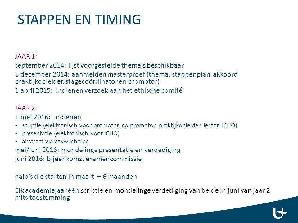 STAPPEN EN TIMING JAAR 1: september 2014: lijst voorgestelde thema's beschikbaar 1 december 2014: aanmelden masterproef (thema, stappenplan, akkoord p