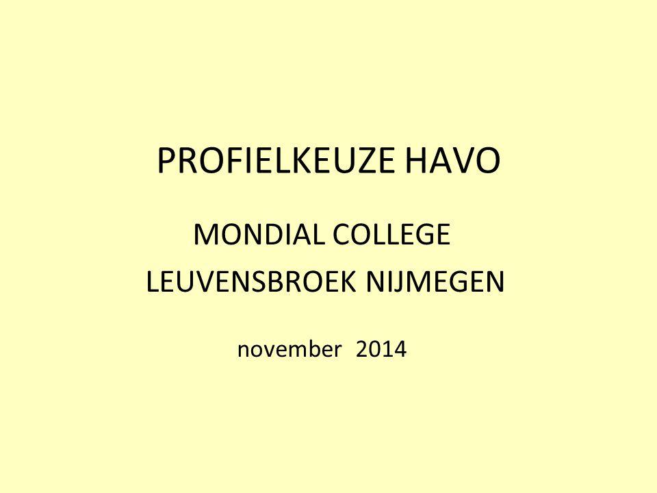 PROFIELKEUZE HAVO MONDIAL COLLEGE LEUVENSBROEK NIJMEGEN november 2014