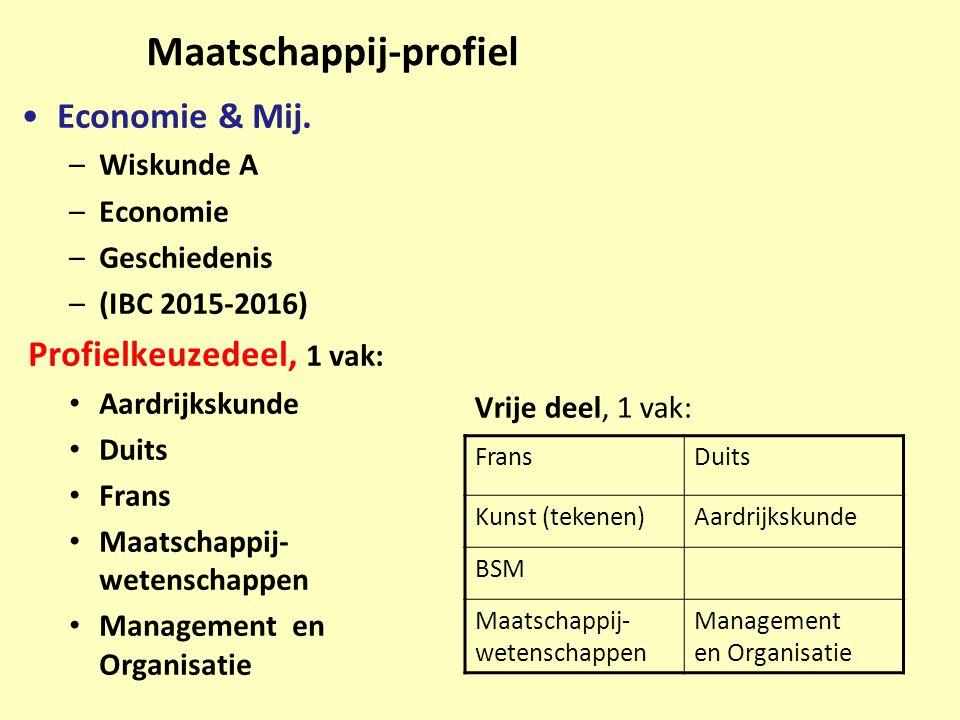 Maatschappij-profiel Economie & Mij. –Wiskunde A –Economie –Geschiedenis –(IBC 2015-2016) Profielkeuzedeel, 1 vak: Aardrijkskunde Duits Frans Maatscha