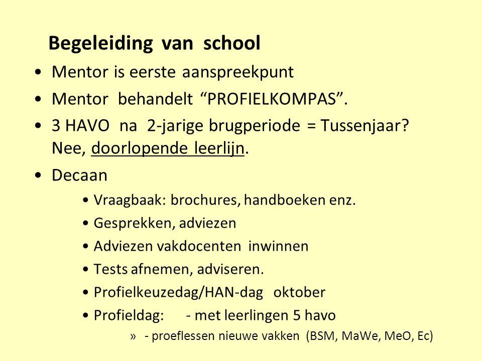 """Begeleiding van school Mentor is eerste aanspreekpunt Mentor behandelt """"PROFIELKOMPAS"""". 3 HAVO na 2-jarige brugperiode = Tussenjaar? Nee, doorlopende"""