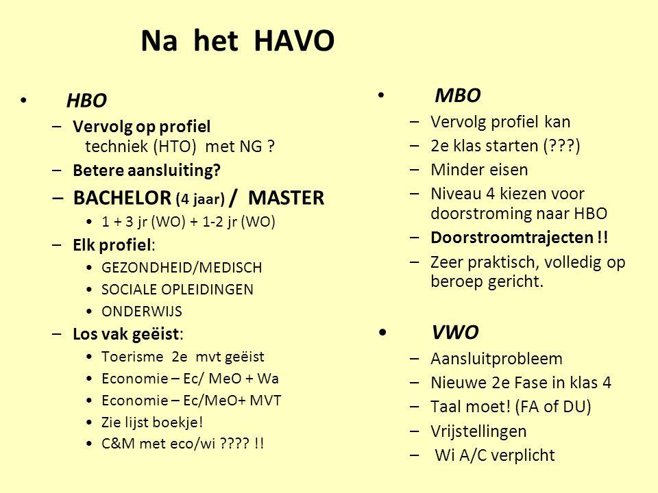 Na het HAVO HBO –Vervolg op profiel techniek (HTO) met NG ? –Betere aansluiting? –BACHELOR (4 jaar) / MASTER 1 + 3 jr(WO) + 1-2 jr (WO) –Elk profiel: