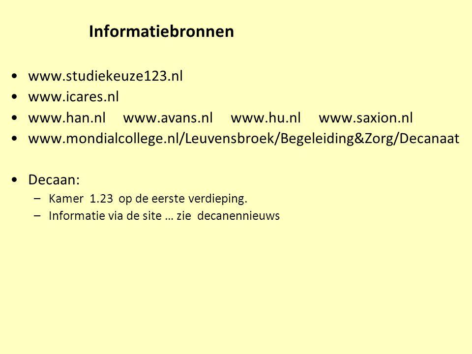 Informatiebronnen www.studiekeuze123.nl www.icares.nl www.han.nl www.avans.nl www.hu.nl www.saxion.nl www.mondialcollege.nl/Leuvensbroek/Begeleiding&Z