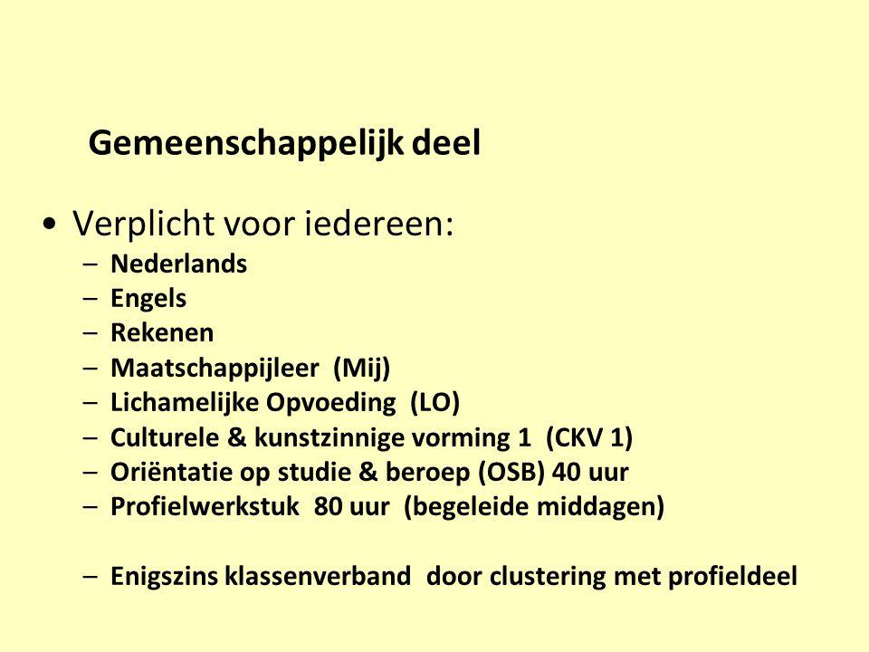Gemeenschappelijk deel Verplicht voor iedereen: –Nederlands –Engels –Rekenen –Maatschappijleer (Mij) –Lichamelijke Opvoeding (LO) –Culturele & kunstzi