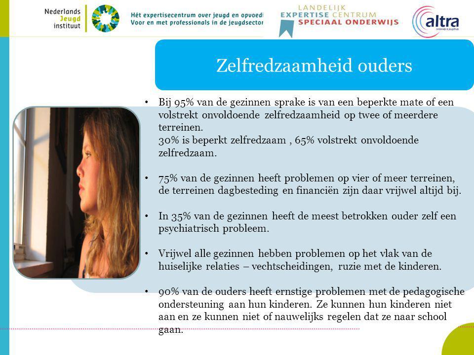 Zelfredzaamheid ouders Bij 95% van de gezinnen sprake is van een beperkte mate of een volstrekt onvoldoende zelfredzaamheid op twee of meerdere terreinen.