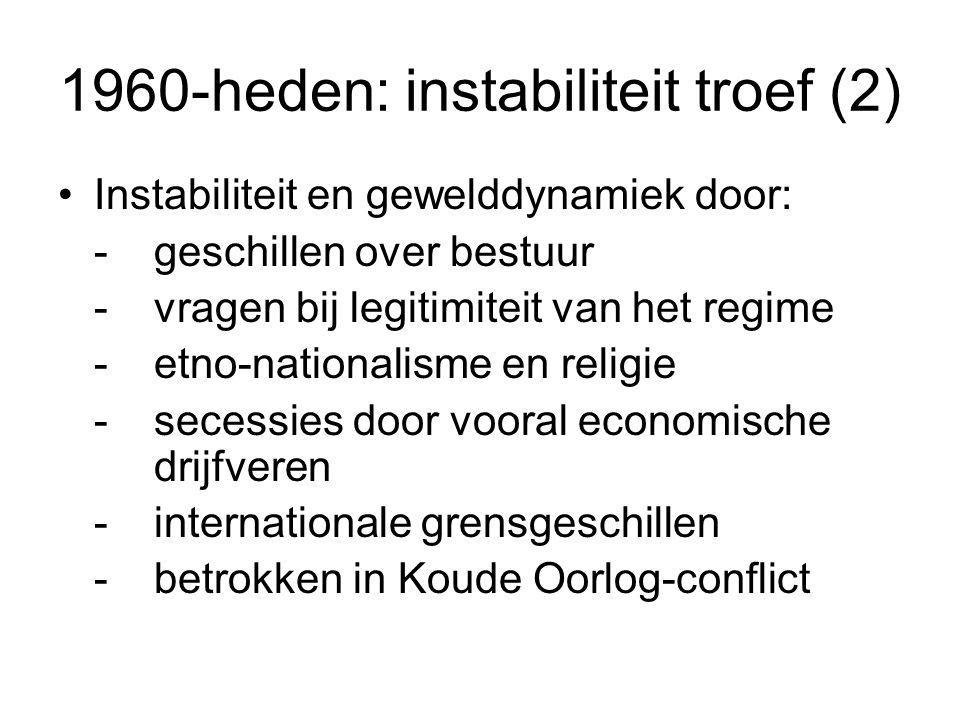 1960-heden: instabiliteit troef (2) Instabiliteit en gewelddynamiek door: -geschillen over bestuur -vragen bij legitimiteit van het regime -etno-nationalisme en religie -secessies door vooral economische drijfveren -internationale grensgeschillen -betrokken in Koude Oorlog-conflict