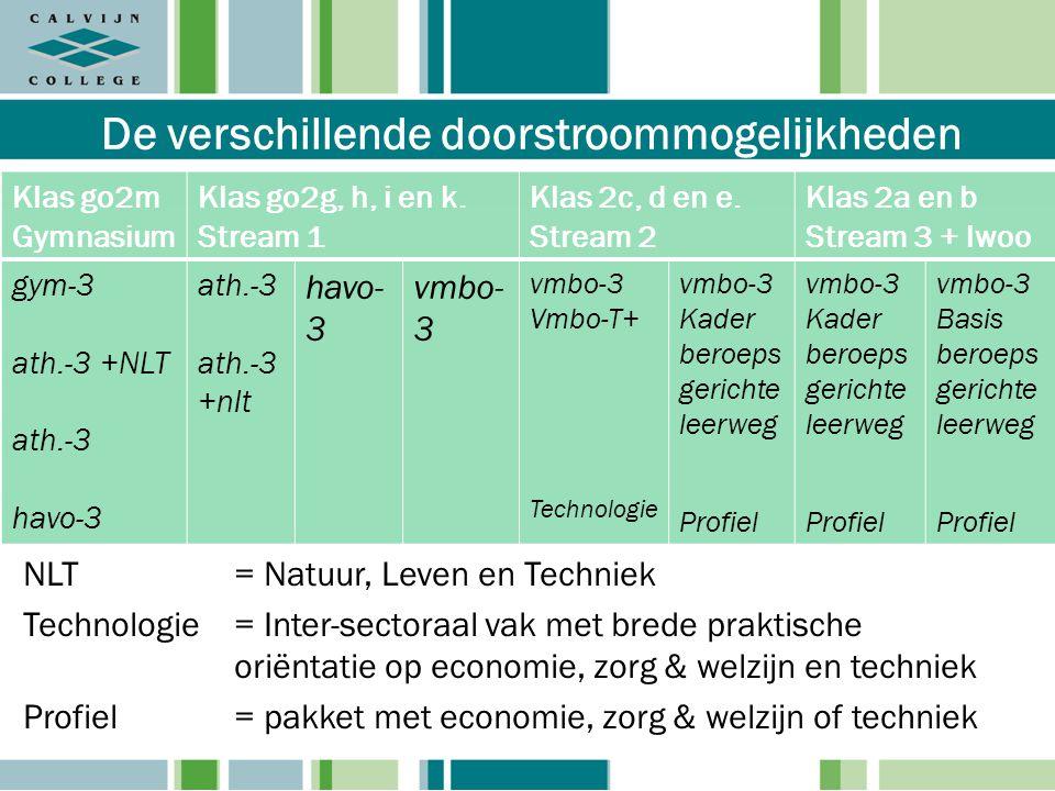 De verschillende doorstroommogelijkheden NLT= Natuur, Leven en Techniek Technologie = Inter-sectoraal vak met brede praktische oriëntatie op economie,
