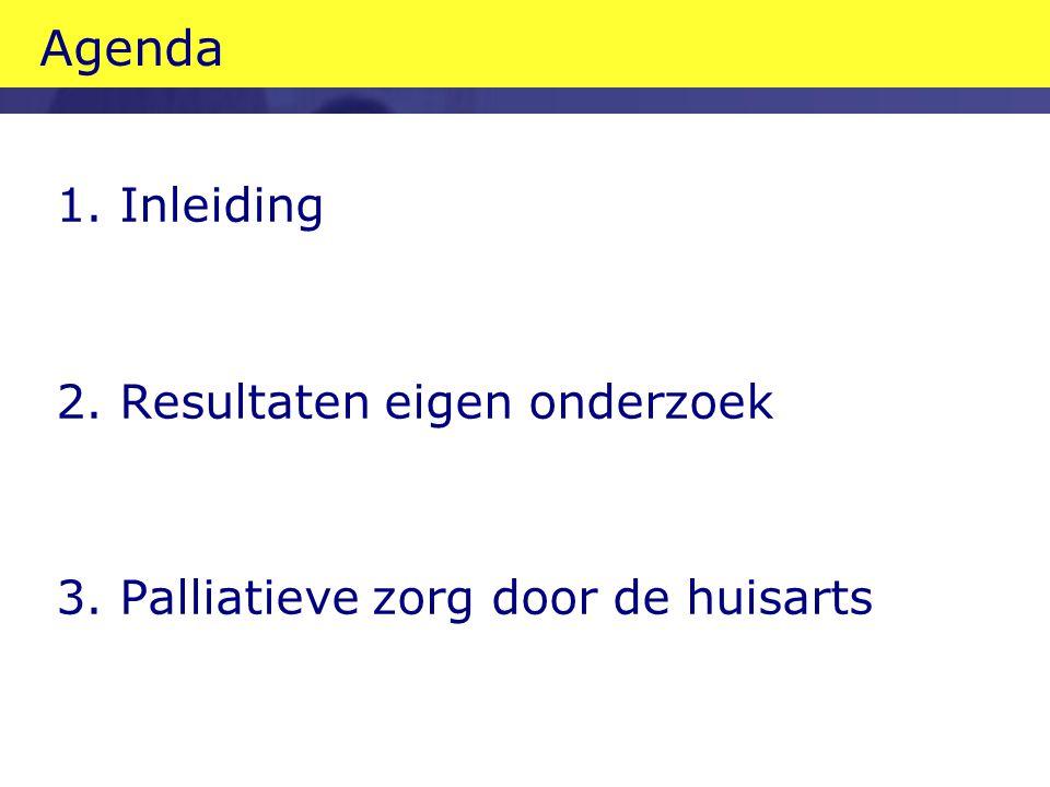 Agenda 1. Inleiding 2. Resultaten eigen onderzoek 3. Palliatieve zorg door de huisarts