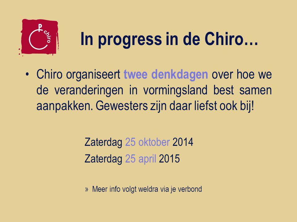 In progress in de Chiro… Chiro organiseert twee denkdagen over hoe we de veranderingen in vormingsland best samen aanpakken.
