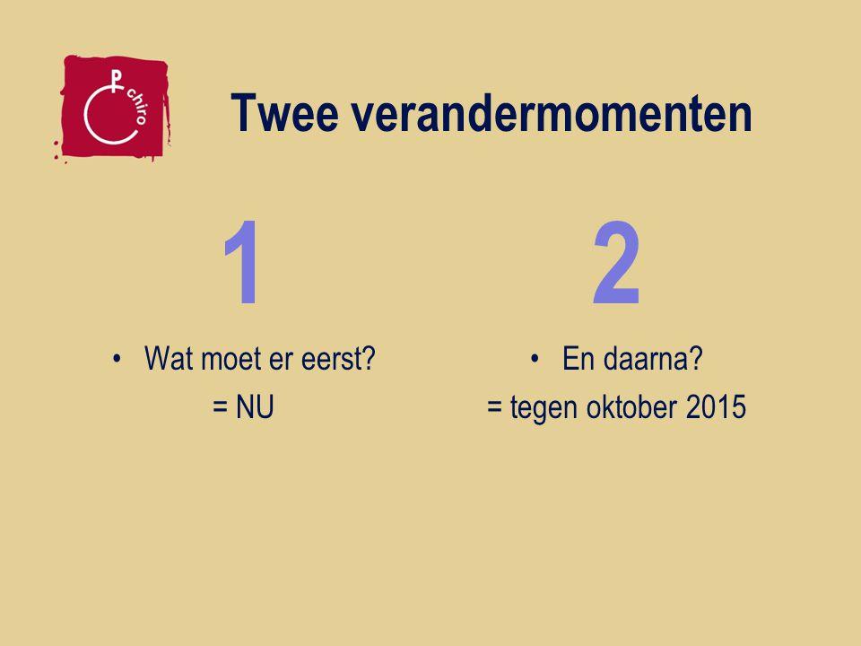 Twee verandermomenten 1 Wat moet er eerst = NU 2 En daarna = tegen oktober 2015