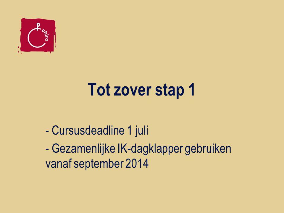Tot zover stap 1 - Cursusdeadline 1 juli - Gezamenlijke IK-dagklapper gebruiken vanaf september 2014